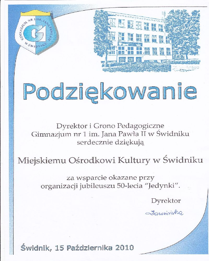 Gimnazjum nr 1, 2010