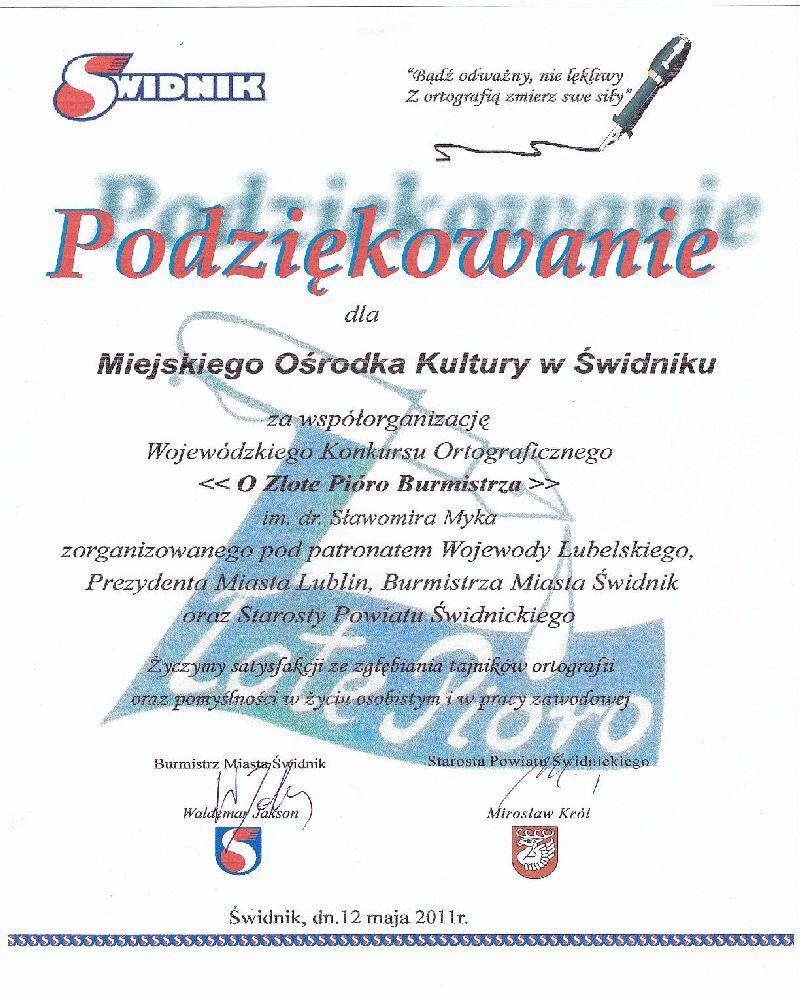 Wojewódzki Konkurs Ortograficzny, 2011