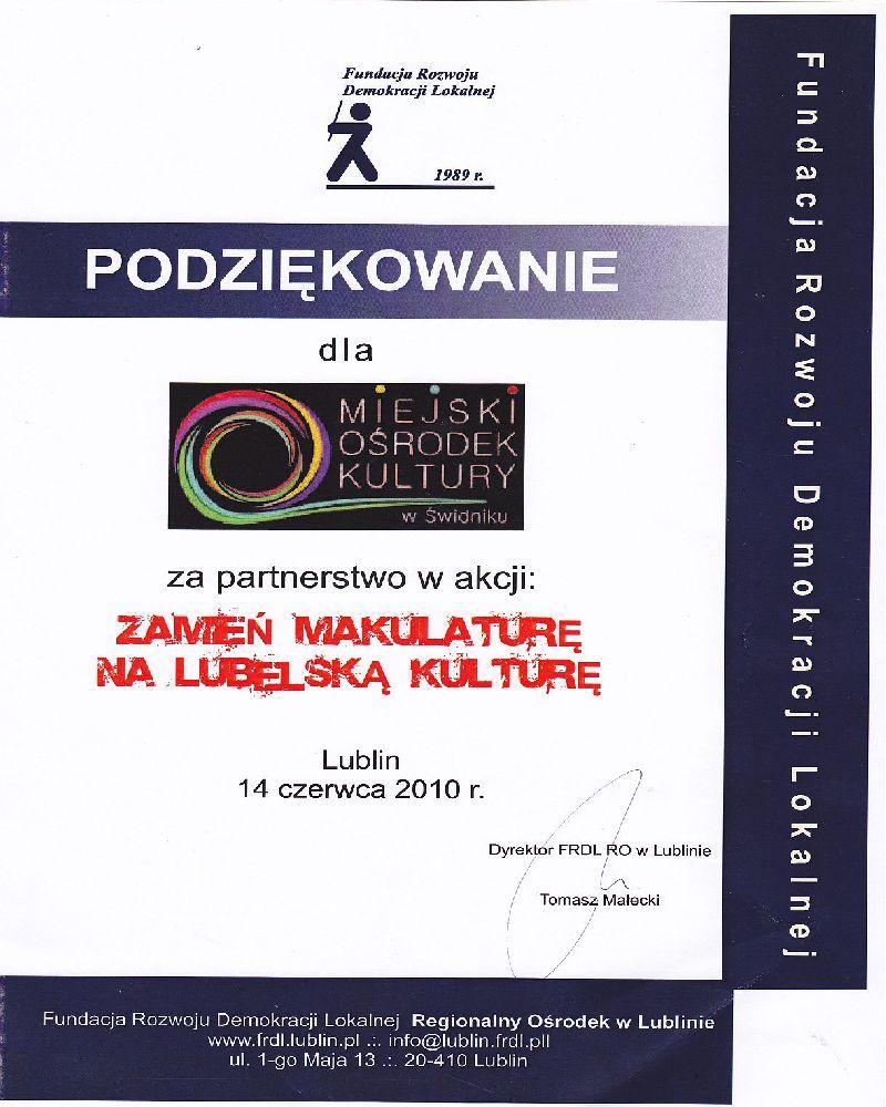 Fundacja Rozwoju Demokracji Lokalnej, 2010