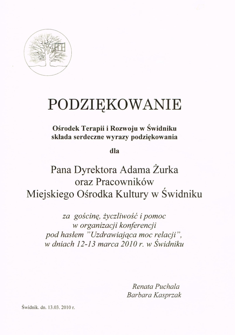 Ośrodek Terapii i Rozwoju w Świdniku, 2010