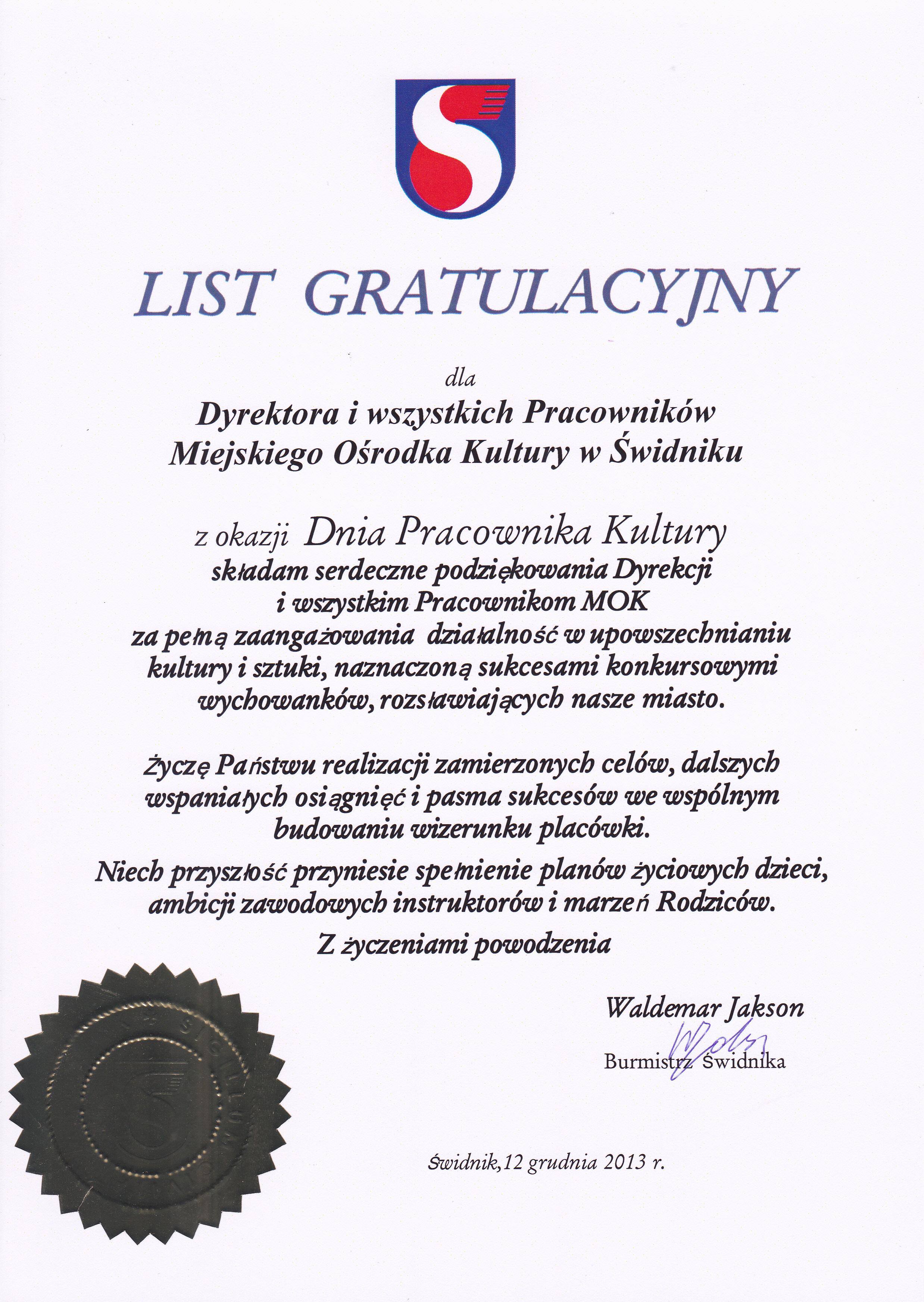 Burmistrz Świdnika, 2013
