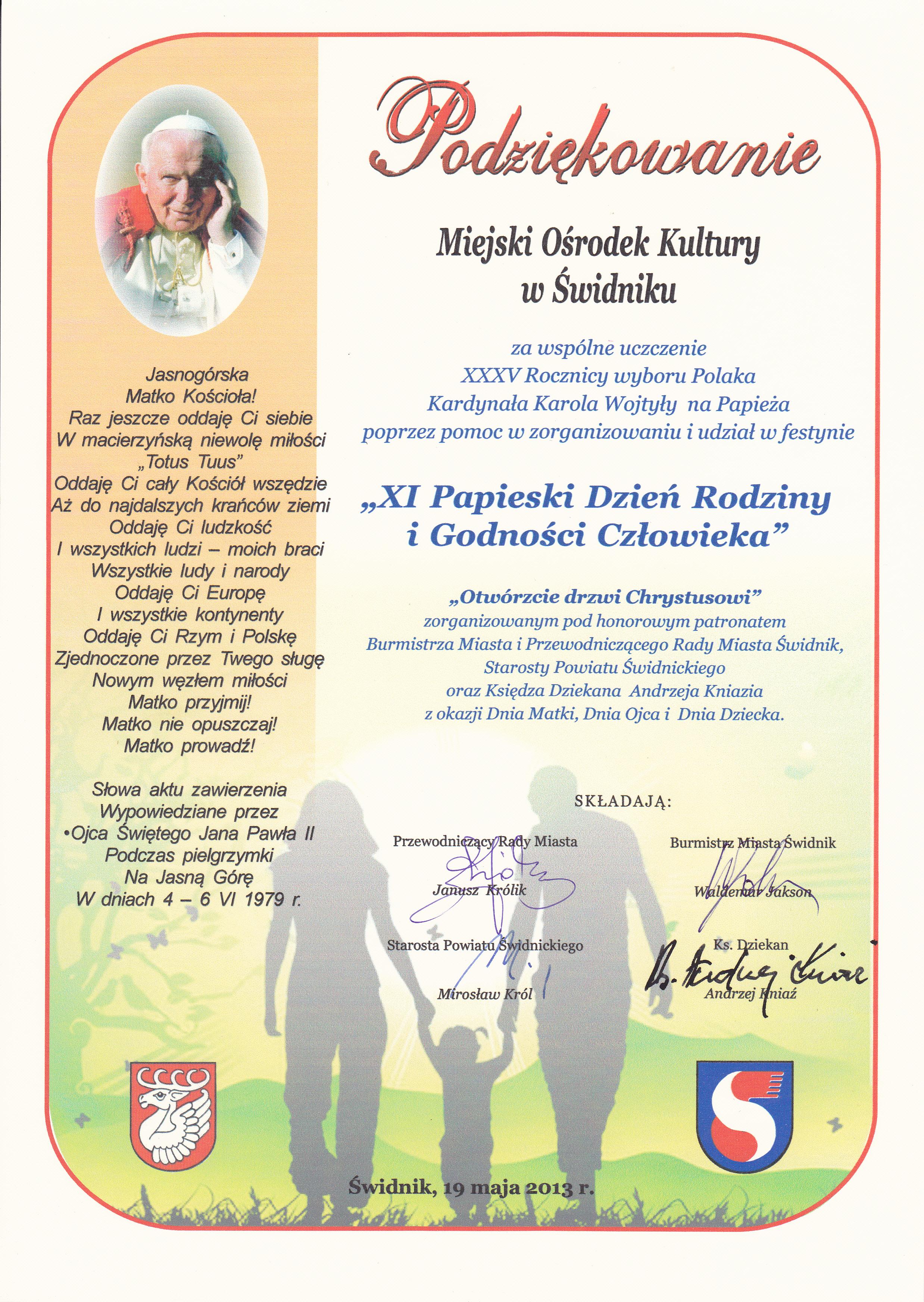XI Papieski Dzień Rodziny i Godności Człowieka, 2013