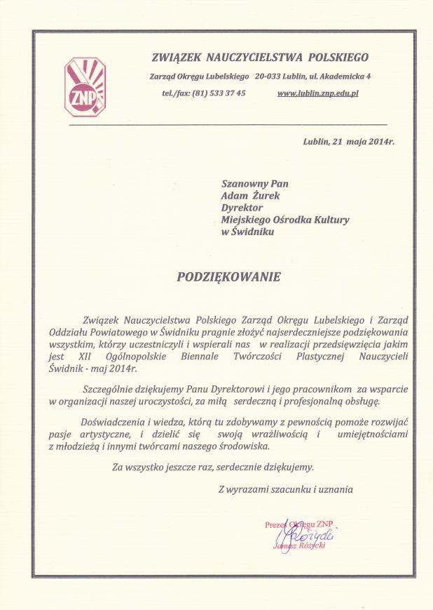 Związek Nauczycielstwa Polskiego, 2014