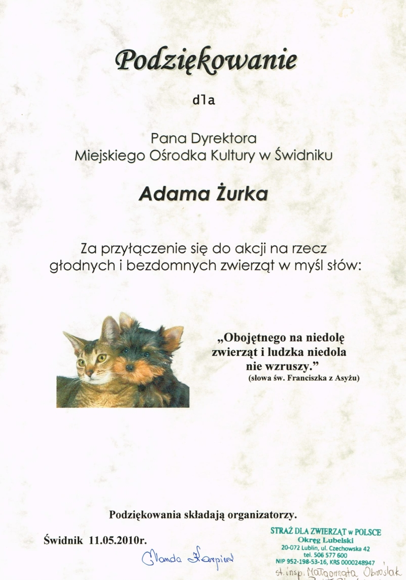 Straż dla zwierząt w Polsce, 2010