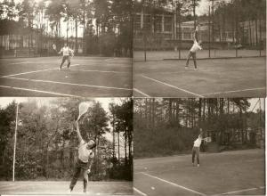 Stanislaw i Wieslaw Ksiescy na treningu korty w Swidniku 1976